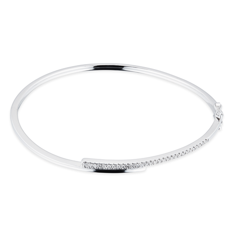 9ct White Gold 0.20cttw Diamond Bar Bangle