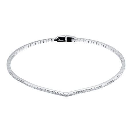 9ct White Gold 0.50cttw Diamond V Bangle