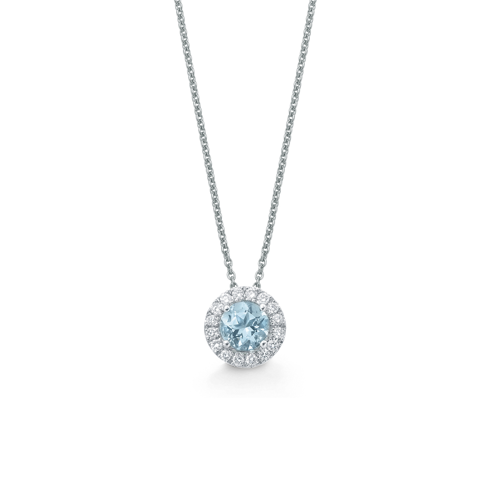 Carrington 18ct White Gold 6mm Aquamarine and 0.20cttw Diamond Pendant