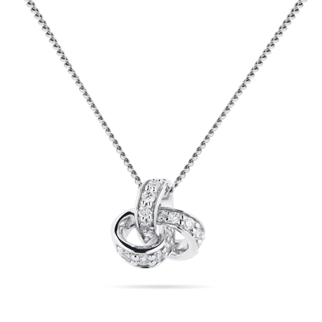 9ct White Gold 0.15ct Diamond Knot Pendant