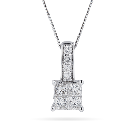 9ct White Gold 0.45ct Invisible Diamond Set Pendant