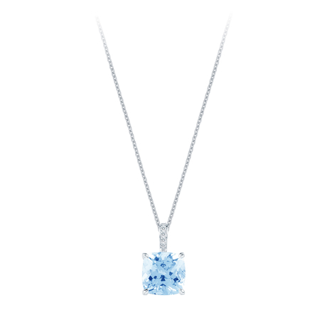Carrington 18ct White Gold 4.40ct Blue Topaz and 0.05cttw Diamond Pendant