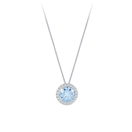 Carrington 18ct White Gold 1.80ct Blue Topaz and 0.20cttw Diamond Pendant
