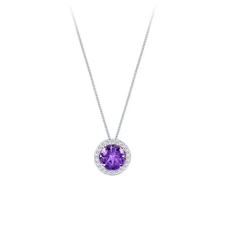 Carrington 18ct White Gold 1.60ct Amethyst and 0.20cttw Diamond Pendant