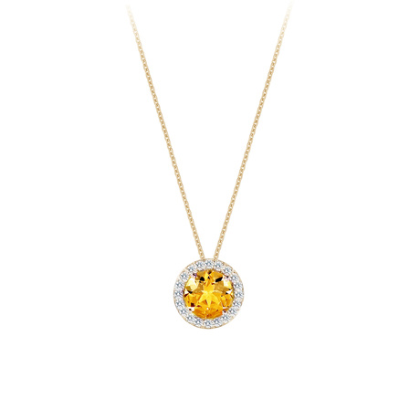 For Her - Carrington 18ct Yellow Gold 1.60ct Citrine and 0.20cttw Diamond Pendant - 12142710