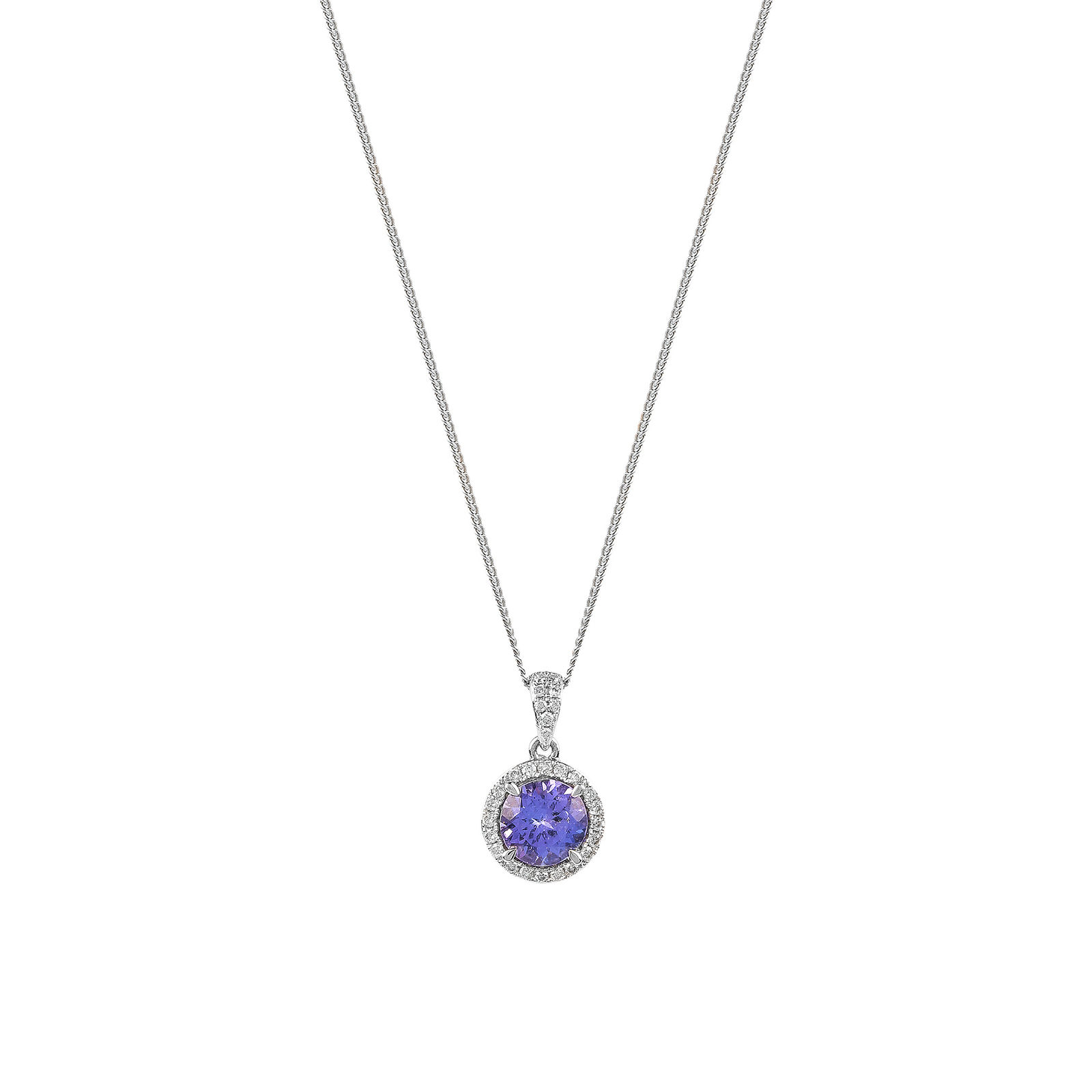 necklace pendant white in tanzanite diamonds gold tw with
