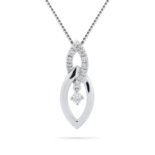 9ct White Gold 0.10ct Marquise Pendant