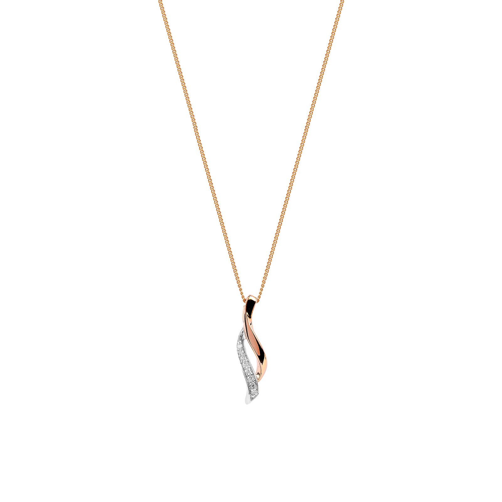 plated open necklace fiorelli rose amp image twist silver gold