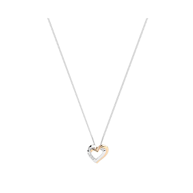 9ct white and yellow gold diamond heart pendant necklaces 9ct white and yellow gold diamond heart pendant aloadofball Images