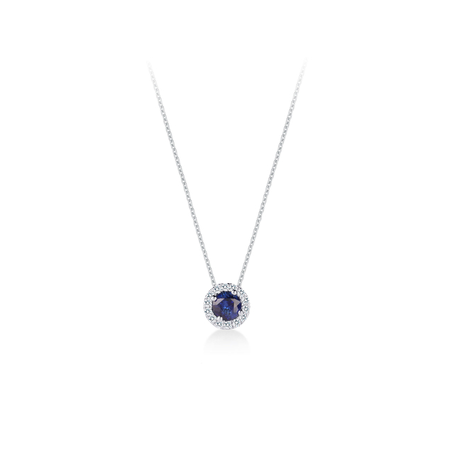 Carrington 18ct White Gold 6mm Sapphire and 0.20cttw Diamond Pendant