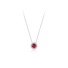 Carrington 18ct White Gold 6mm Ruby and 0.20cttw Diamond Pendant