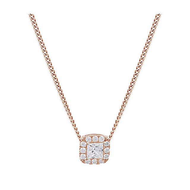 9ct Rose Gold Princess Cut Diamond Halo Pendant