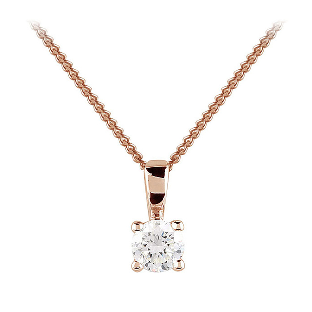 9ct Rose Gold 0.25ct 4 Claw Diamond Pendant