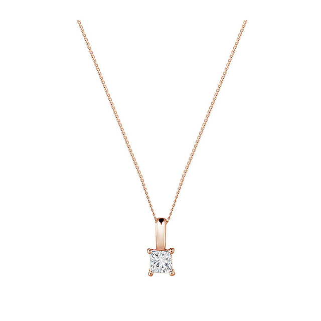 18ct Rose Gold 0.50ct Princess Cut Diamond Pendant