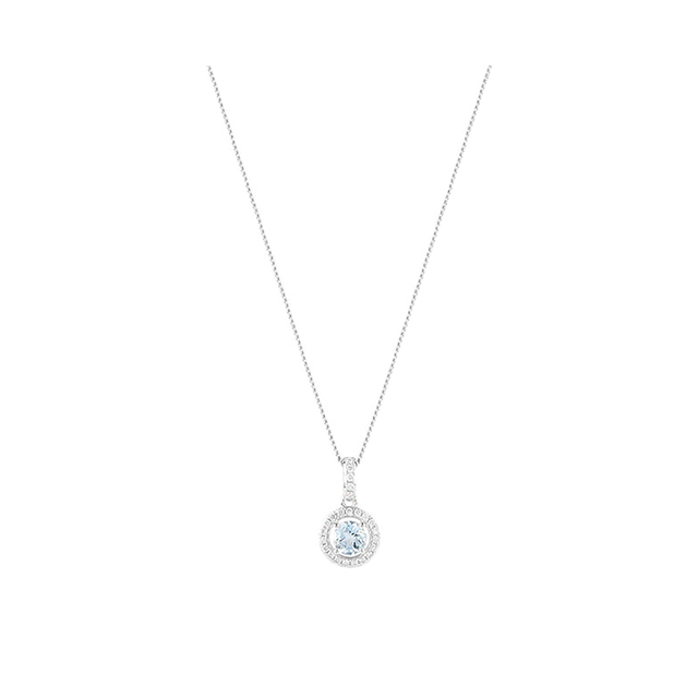 9ct White Gold 0.25ct Aquamarine And 0.08ct Diamond Halo Pendant 4x4mm