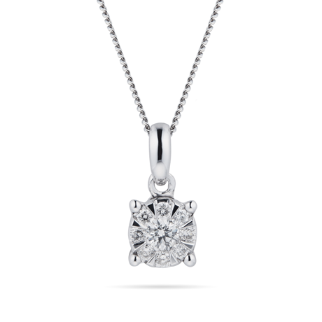 9ct White Gold 0.15 Carat Total Weight Diamond Multi Stone Pendant