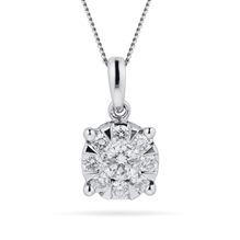 9ct White Gold 0.50 Carat Total Weight Diamond Multi Stone Pendant