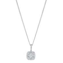 9ct White Gold 0.12cttw Multi Stone Halo Pendant