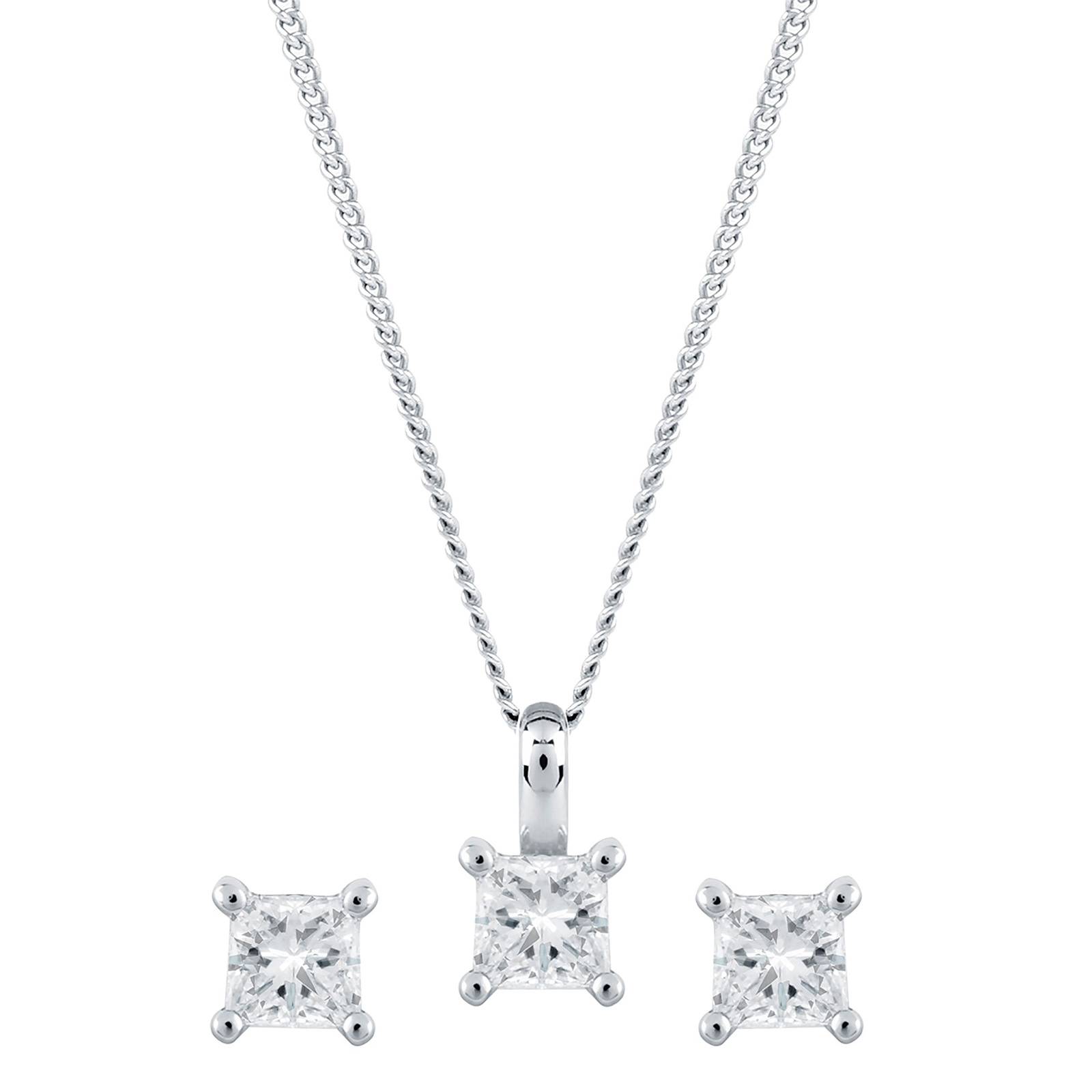 princess pendant ct cut diamond