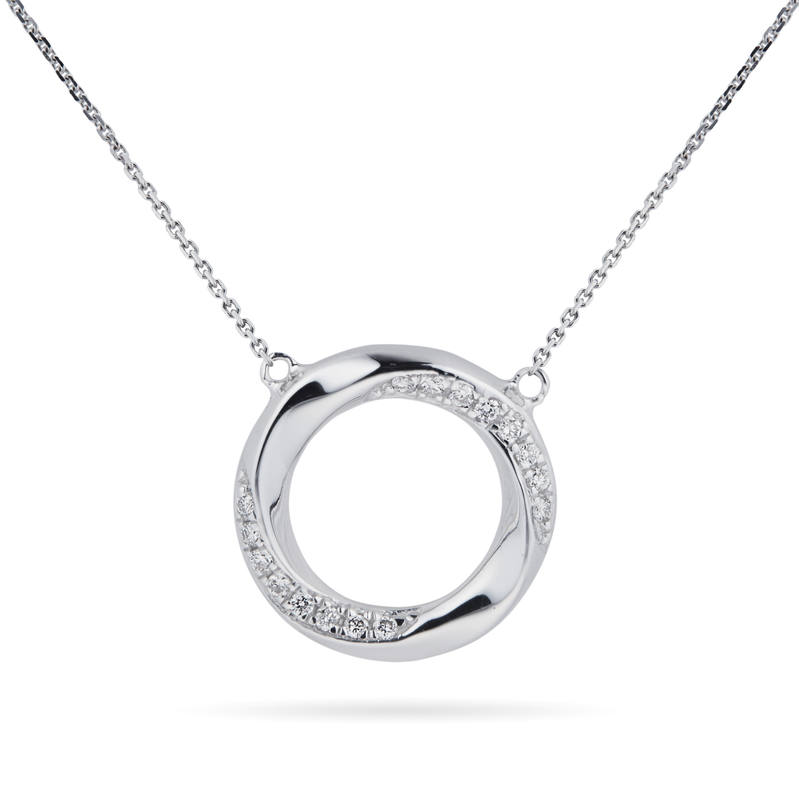 9ct White Gold 0.04 Carat Total Weight Diamond Circle Pendant