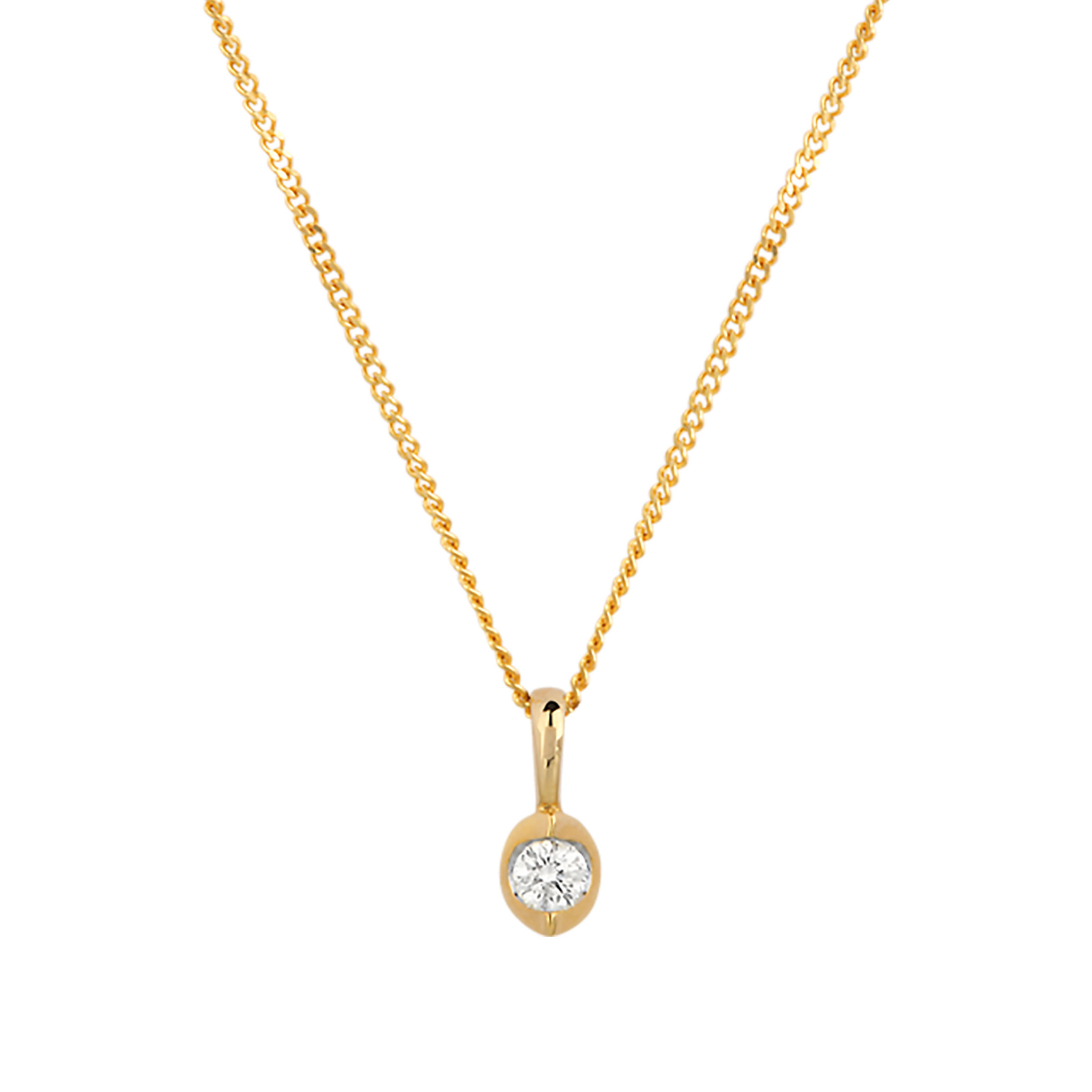 9ct Yellow Gold 0.10ct Tension Set Diamond Pendant