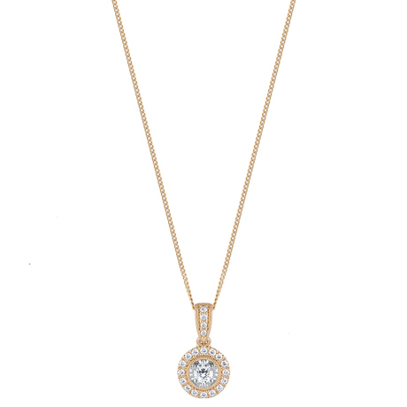 For Her - 9ct Yellow Gold 0.20cttw Diamond Halo Pendant - 12142880