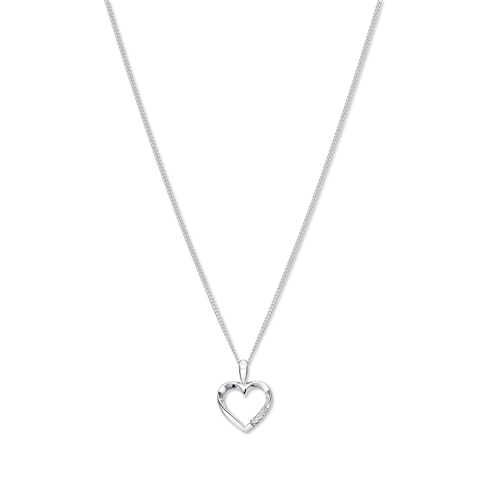 9ct white gold diamond heart pendant necklaces jewellery 9ct white gold diamond heart pendant mozeypictures Images