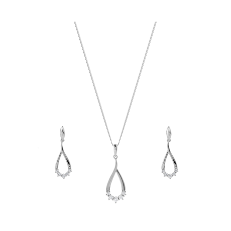 9ct White Gold 0.24ct Diamond Drop Pendant Earring Set