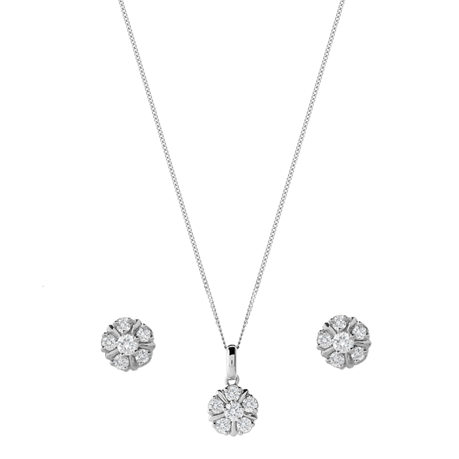 9ct White Gold 0.50ct Cluster Pendant Earring Set