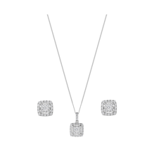 9ct White Gold 0.50ct Sqaure Multi Stone Pendant Earrings Set