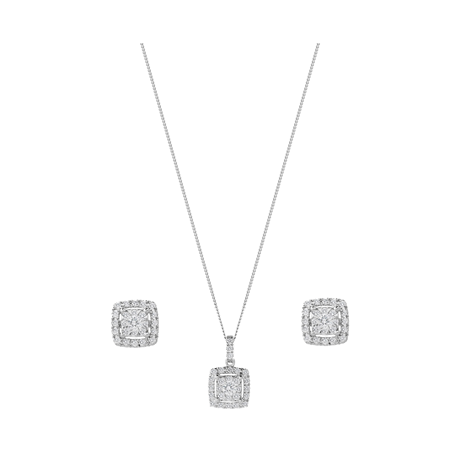 9ct White Gold 0.50ct Square Multi Stone Pendant Earrings Set