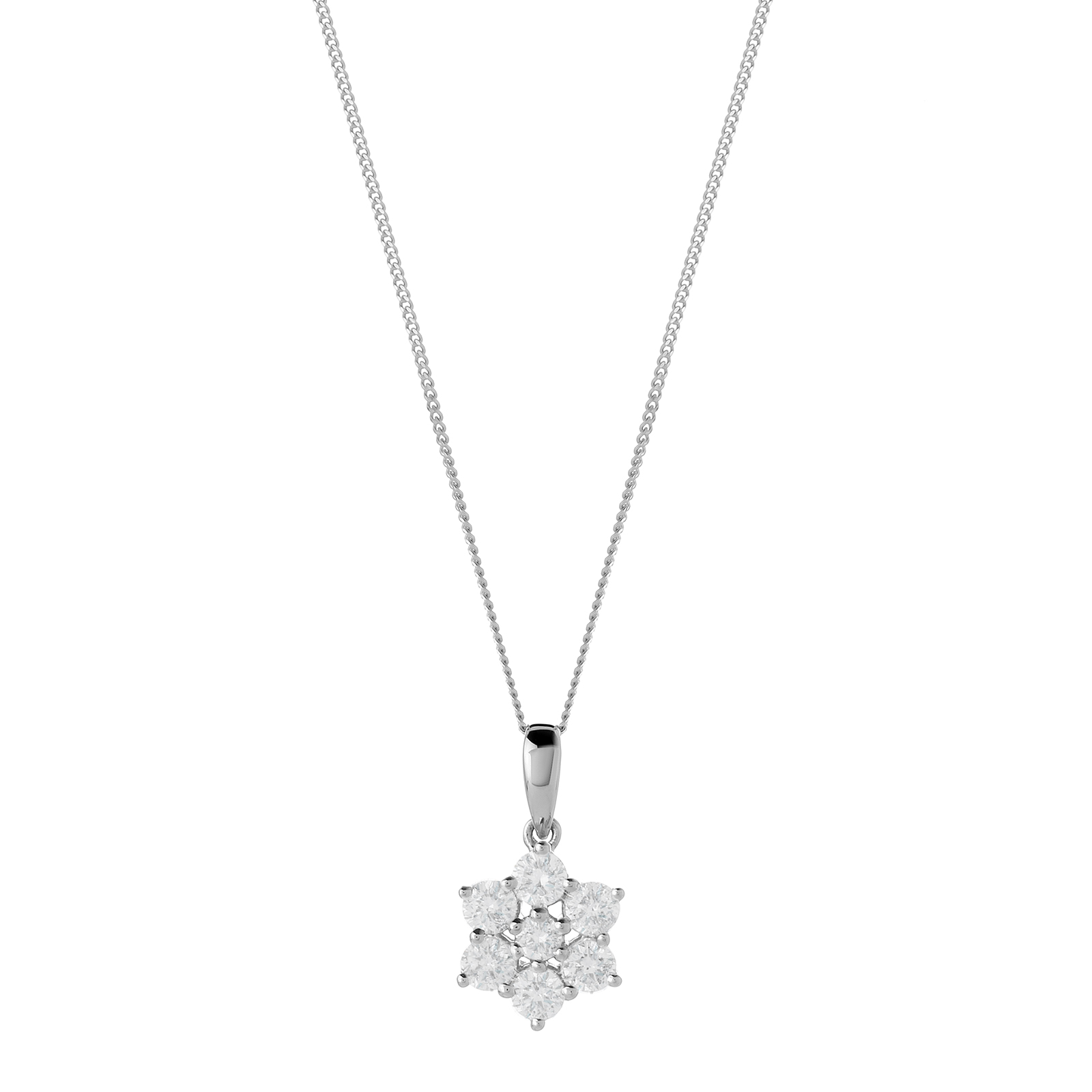 9ct White Gold 0.50ct Diamond Flower Pendant