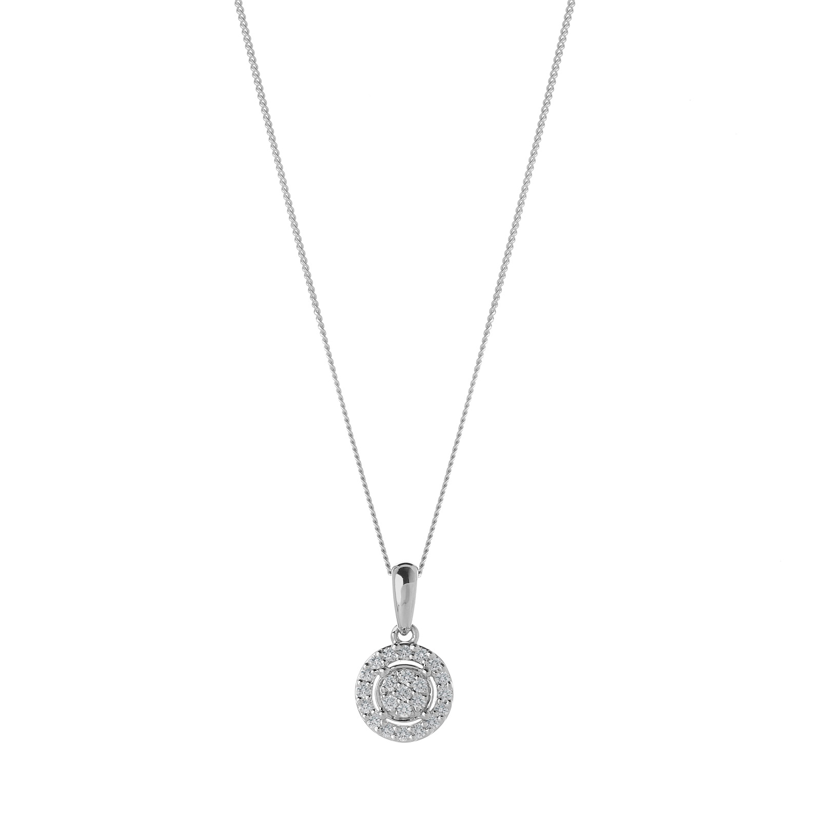 9ct White Gold 0.10ct Diamond Round Pendant