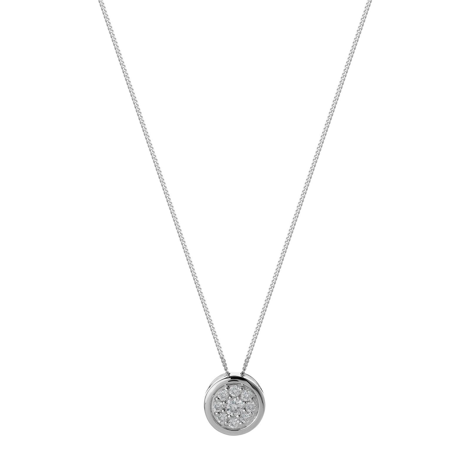 9ct White Gold 0.20ct Diamond Round Pendant