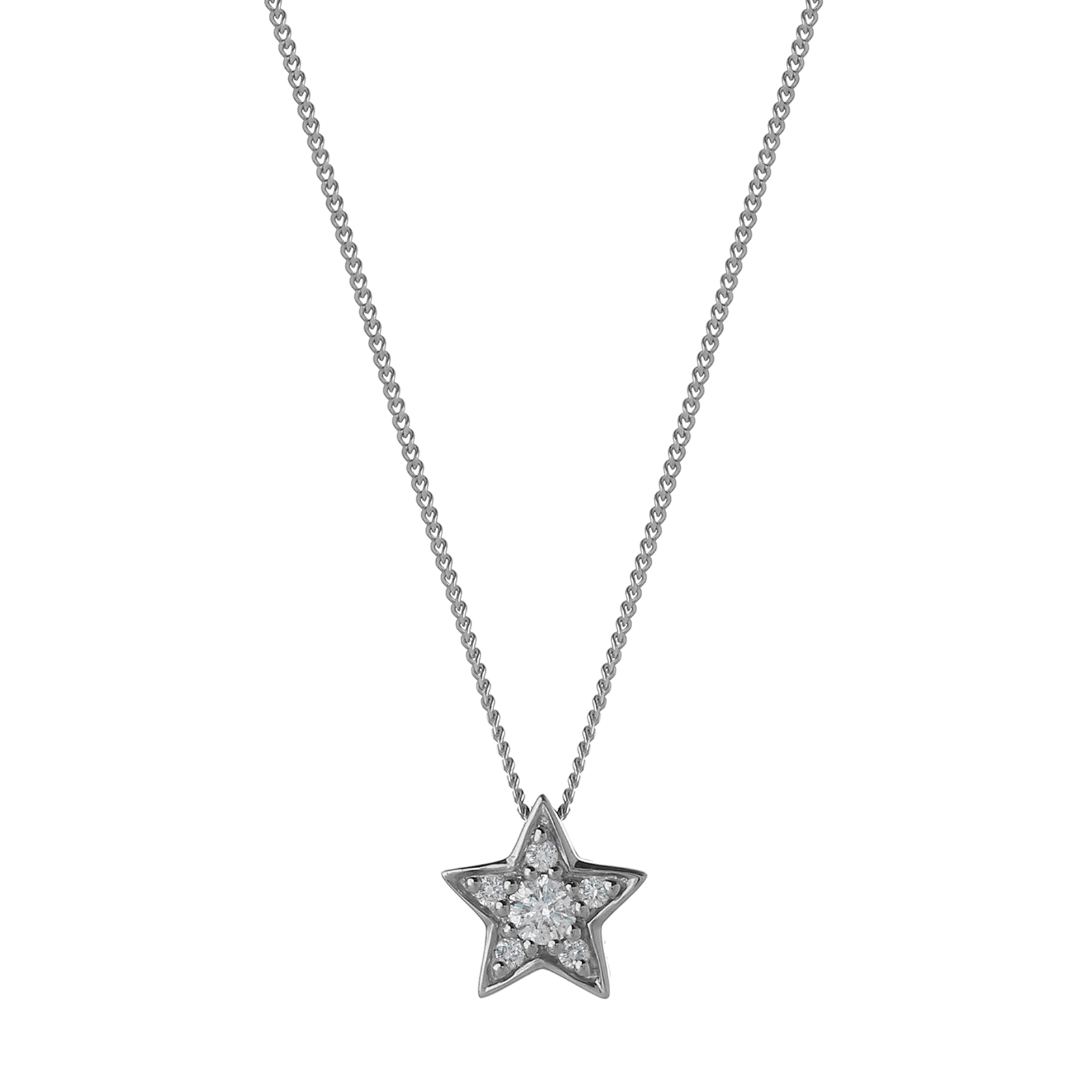 9ct White Gold 0.10ct Diamond Star Pendant