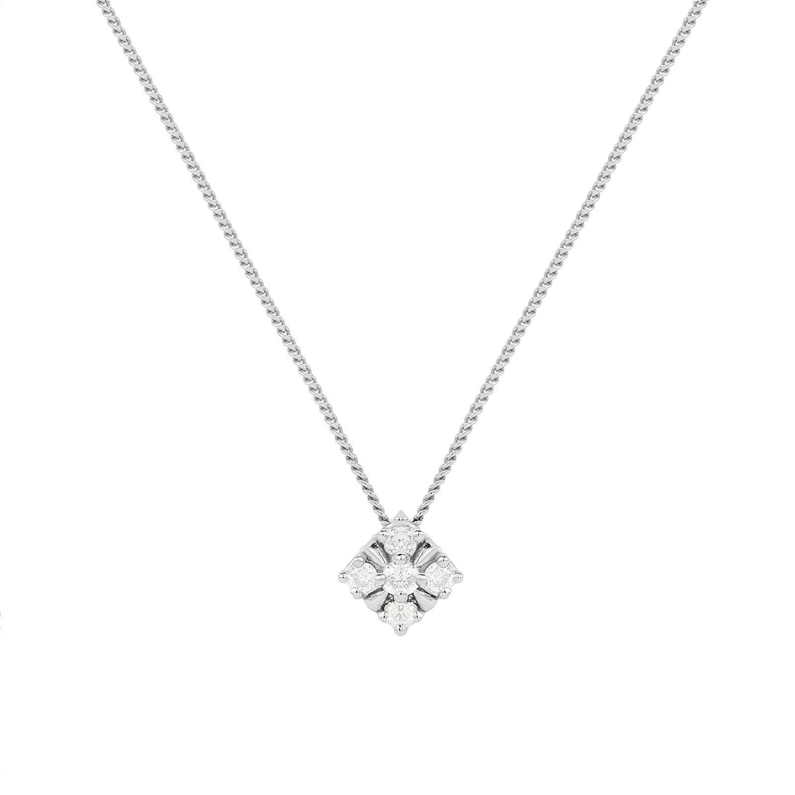 9ct White Gold 0.08ct Diamond Square Pendant