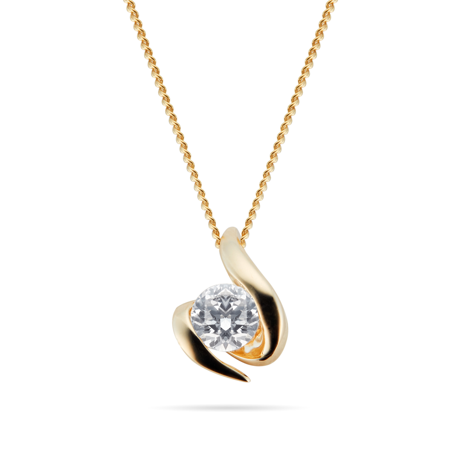 9ct Yellow Gold 0.15ct Wrapped In Love 88 Facet Diamond Pendant