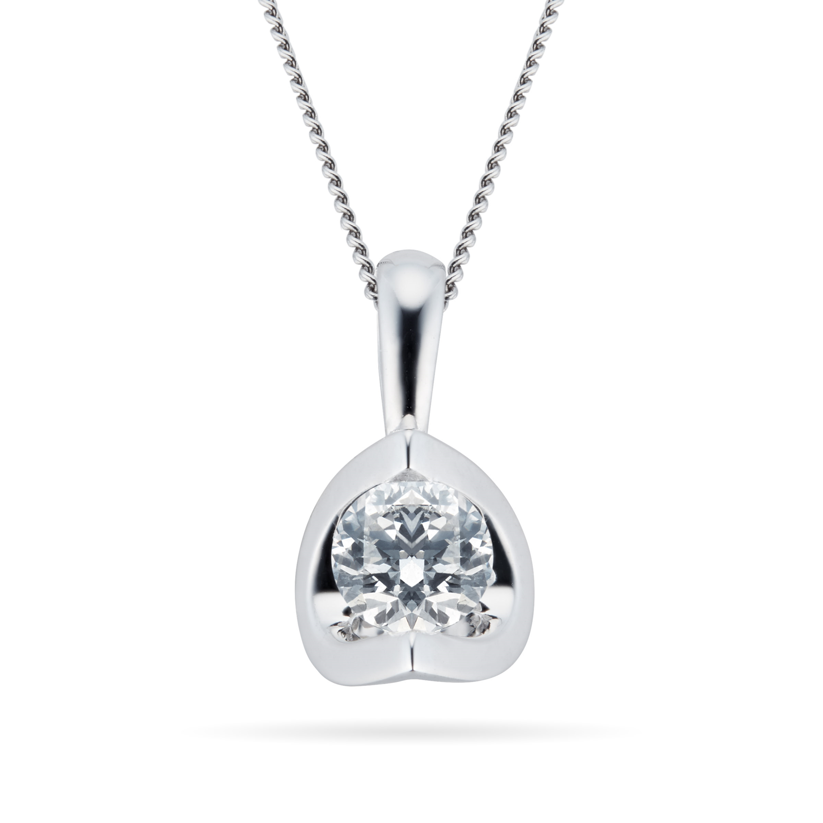 9ct White Gold 0.33ct Tension Set 88 Facet Diamond Pendant
