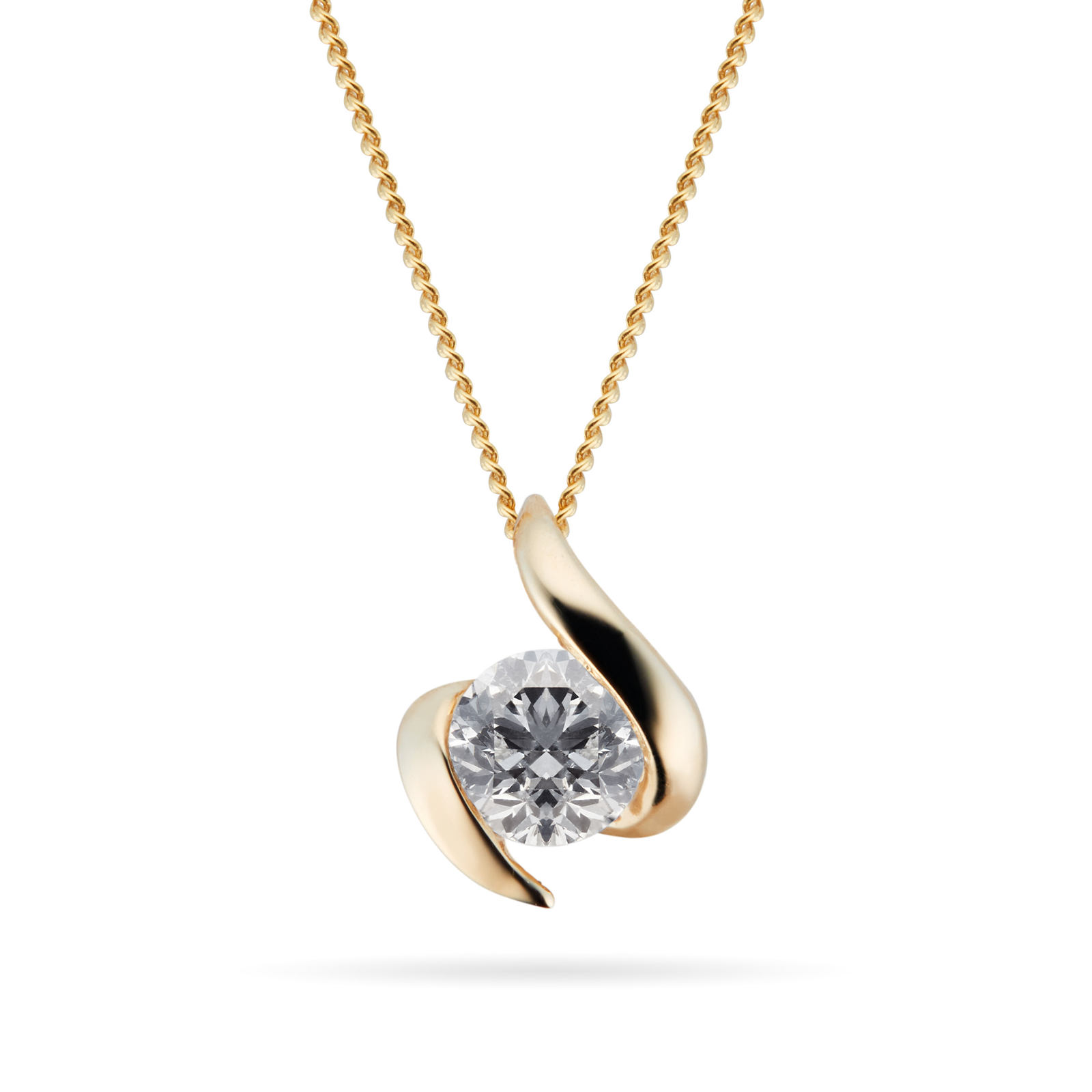 9ct Yellow Gold 0.25ct Wrapped In Love 88 Facet Diamond Pendant