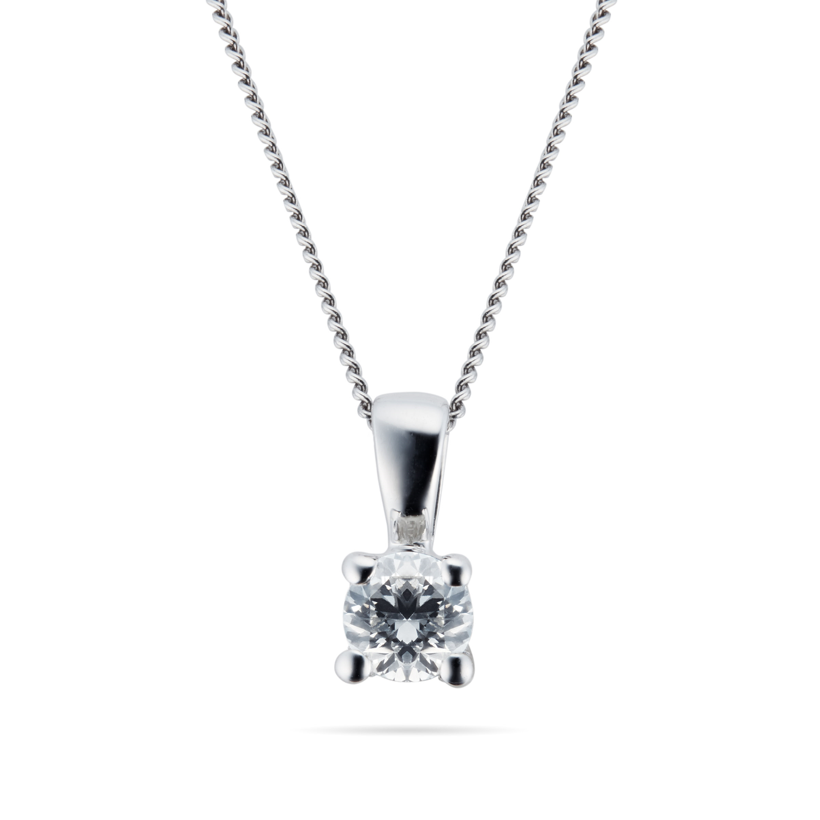 9ct White Gold 0.15ct 4 Claw 88 Facet Diamond Pendant