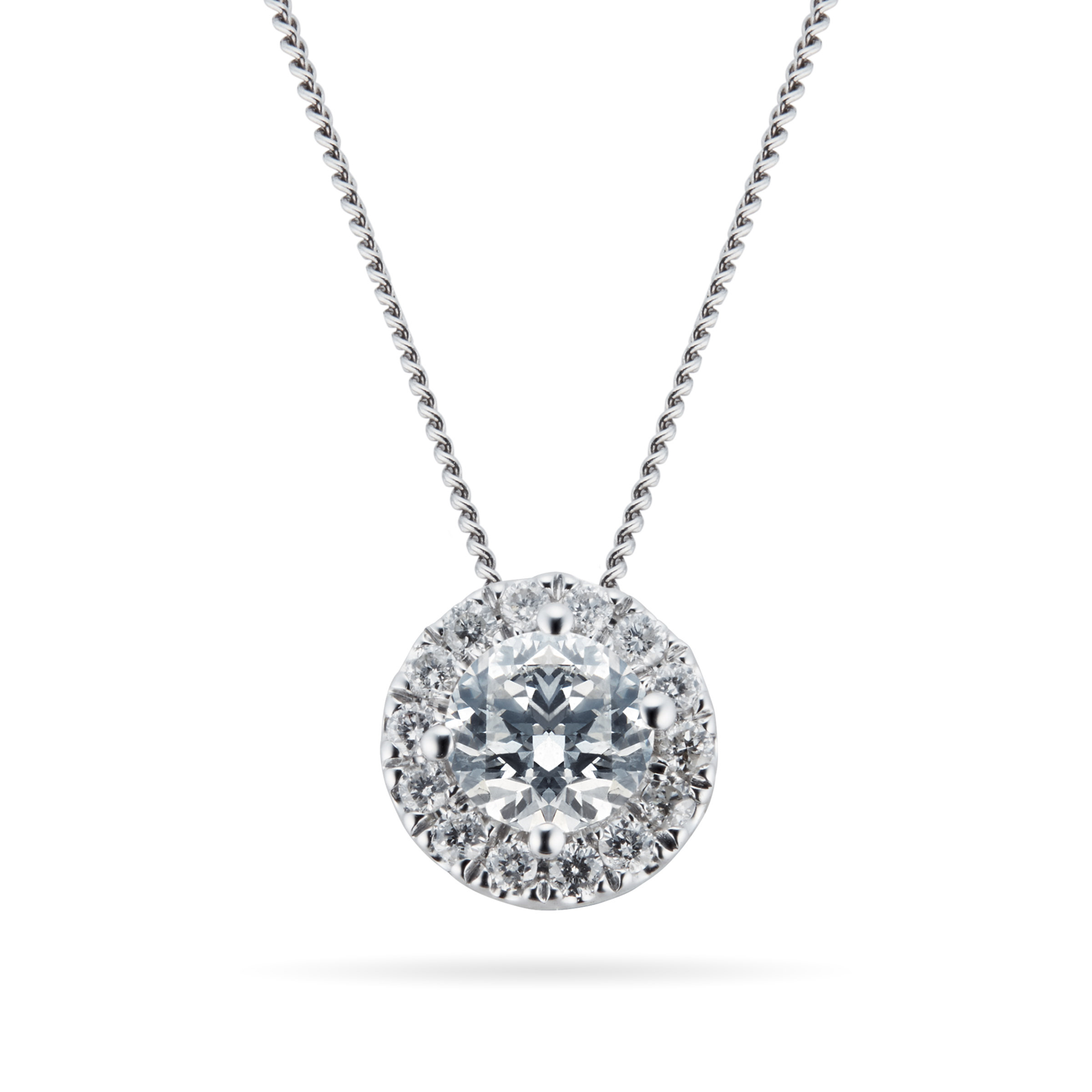 9ct White Gold 0.30ct 88 Facet Diamond Halo Pendant