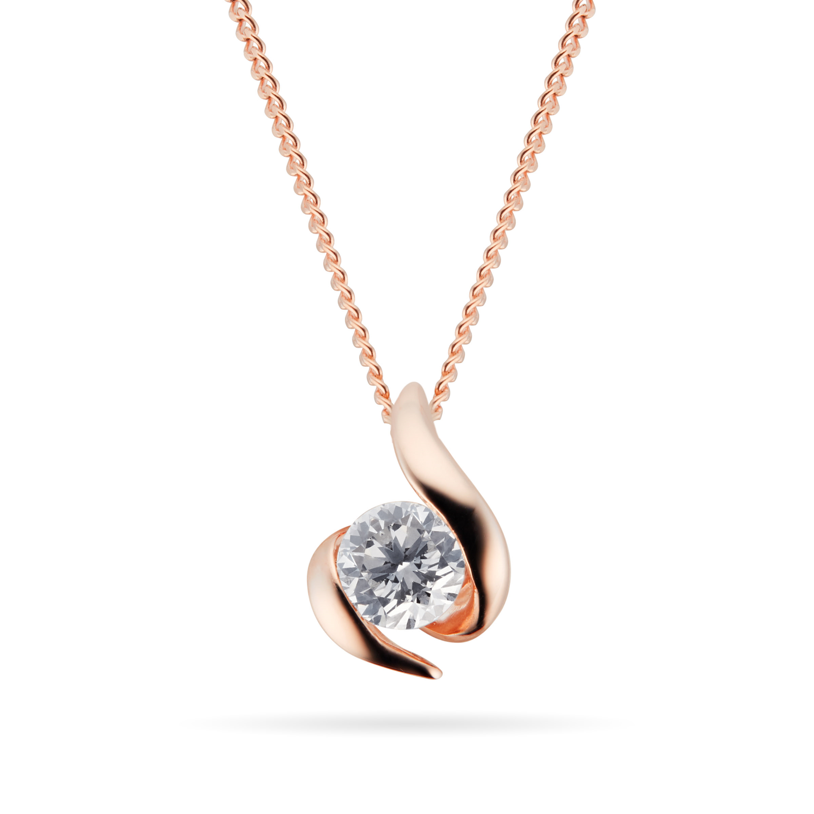 9ct Rose Gold 0.15ct Wrapped In Love 88 Facet Diamond Pendant