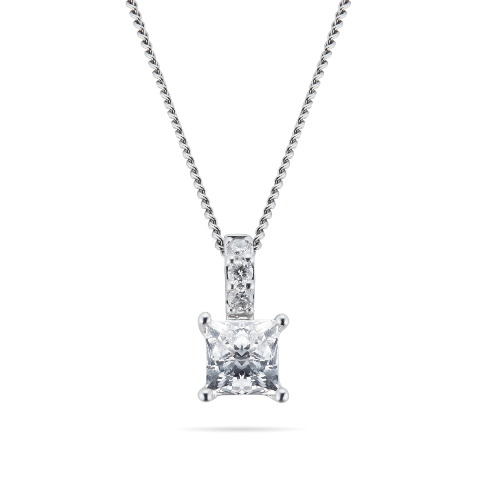 9ct White Gold 0.25ct Princess Cut Goldsmiths Brightest Diamond Pendant
