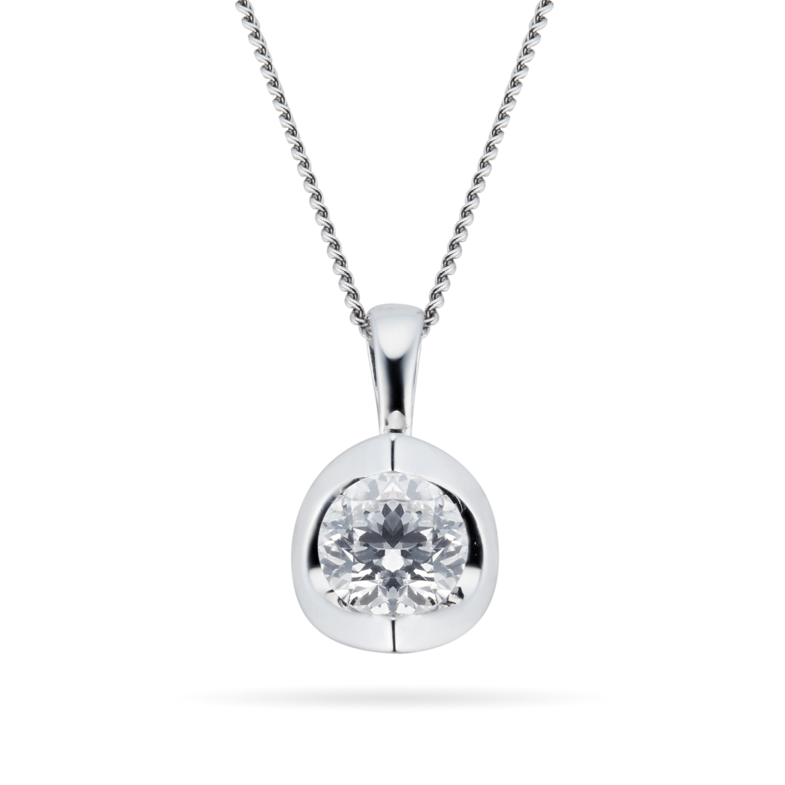 9ct White Gold 0.25ct Tension Set 88 Facet Diamond Set Pendant