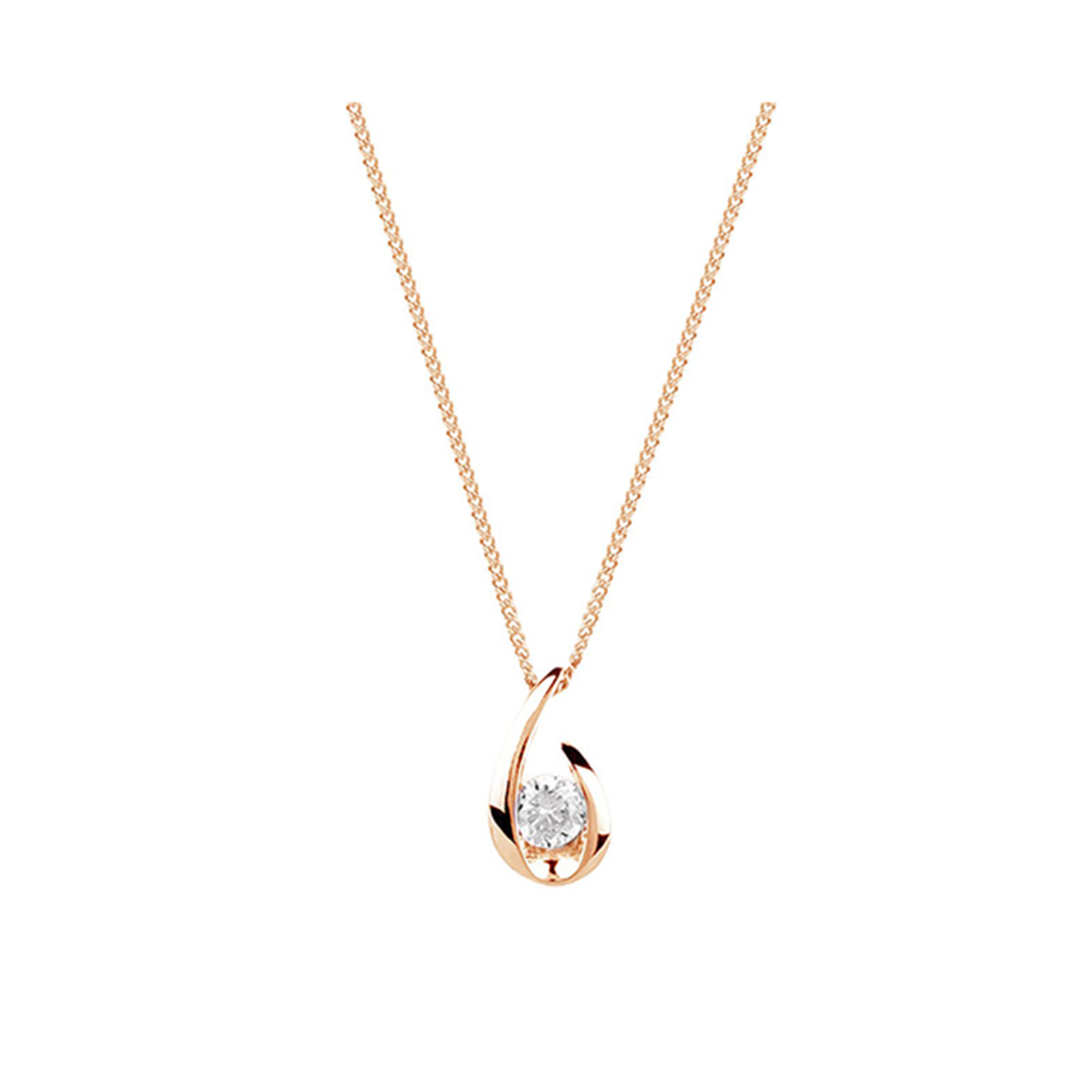 9ct Rose Gold 0.15ct 88 Facet Diamond Swoop Pendant