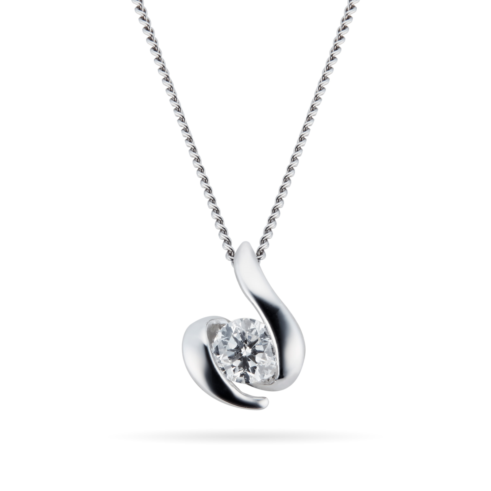 9ct White Gold 0.10ct Wrapped In Love 88 Facet Diamond Pendant