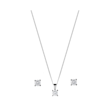 18ct White Gold 1.00ct Diamond Pendant Earring Set