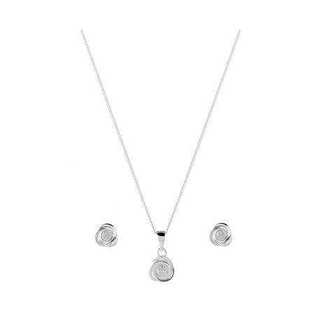 Sterling Silver Diamond Knot Pendant Earrings Set