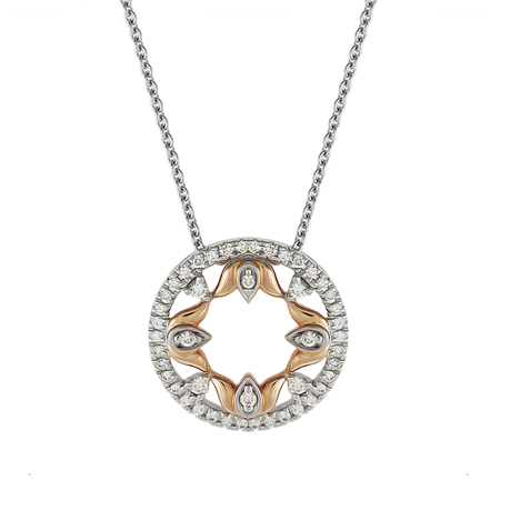 Lotus 18ct White and Rose Gold 0.25cttw Necklace