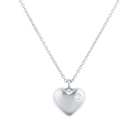 Fortune 18ct White Gold 0.03ct Diamond Heart Pendant